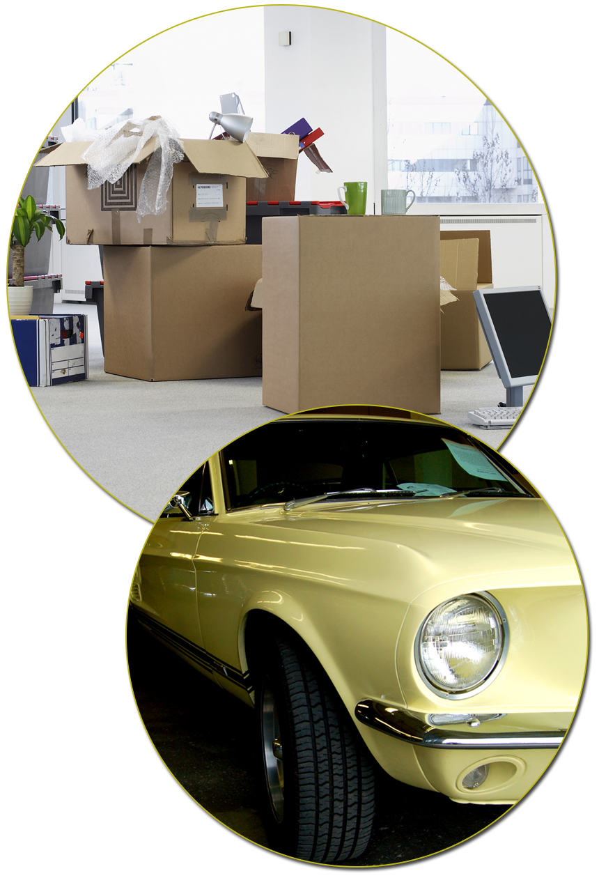 Boxes and Yellow Car